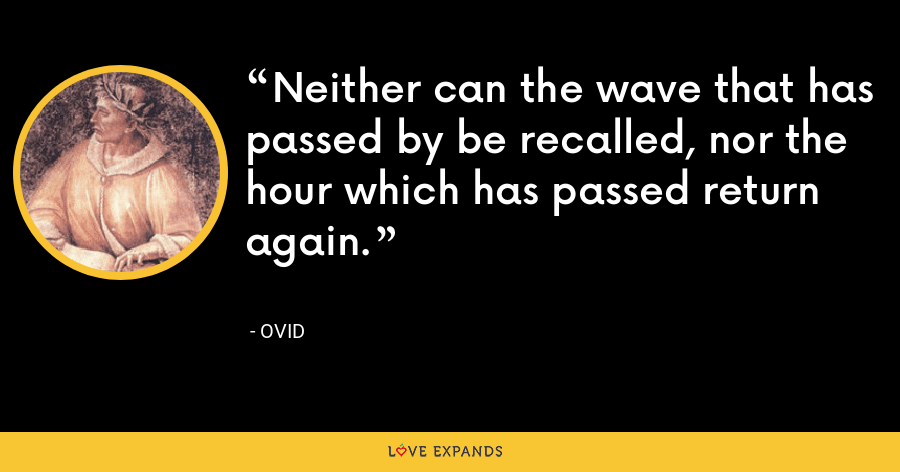 Neither can the wave that has passed by be recalled, nor the hour which has passed return again. - Ovid