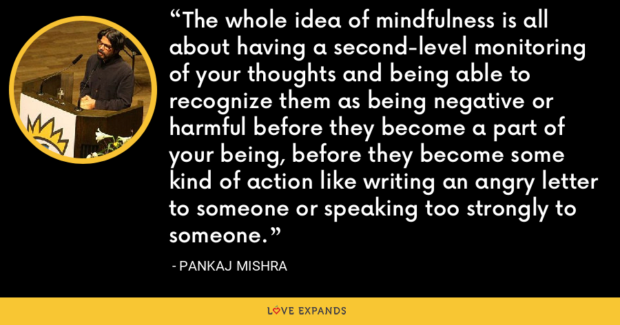 The whole idea of mindfulness is all about having a second-level monitoring of your thoughts and being able to recognize them as being negative or harmful before they become a part of your being, before they become some kind of action like writing an angry letter to someone or speaking too strongly to someone. - Pankaj Mishra