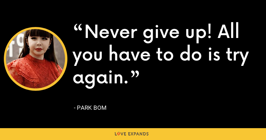 Never give up! All you have to do is try again. - Park Bom