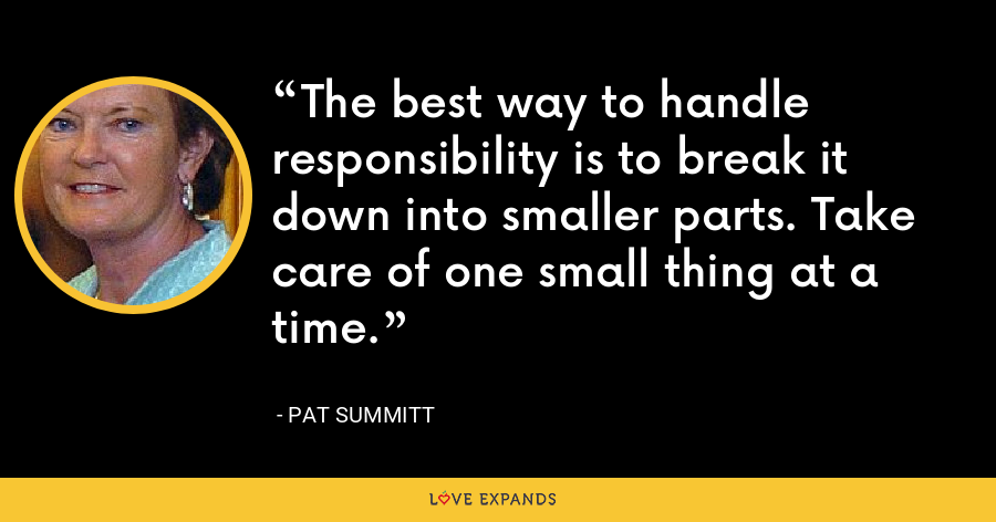 The best way to handle responsibility is to break it down into smaller parts. Take care of one small thing at a time. - Pat Summitt