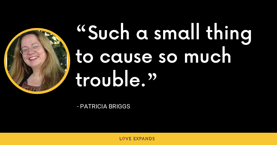 Such a small thing to cause so much trouble. - Patricia Briggs