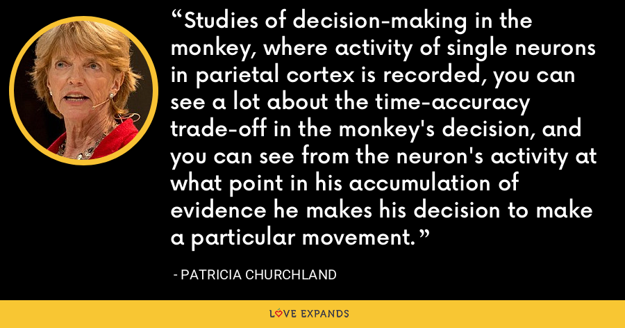 Studies of decision-making in the monkey, where activity of single neurons in parietal cortex is recorded, you can see a lot about the time-accuracy trade-off in the monkey's decision, and you can see from the neuron's activity at what point in his accumulation of evidence he makes his decision to make a particular movement. - Patricia Churchland