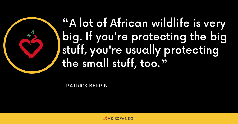 A lot of African wildlife is very big. If you're protecting the big stuff, you're usually protecting the small stuff, too. - Patrick Bergin