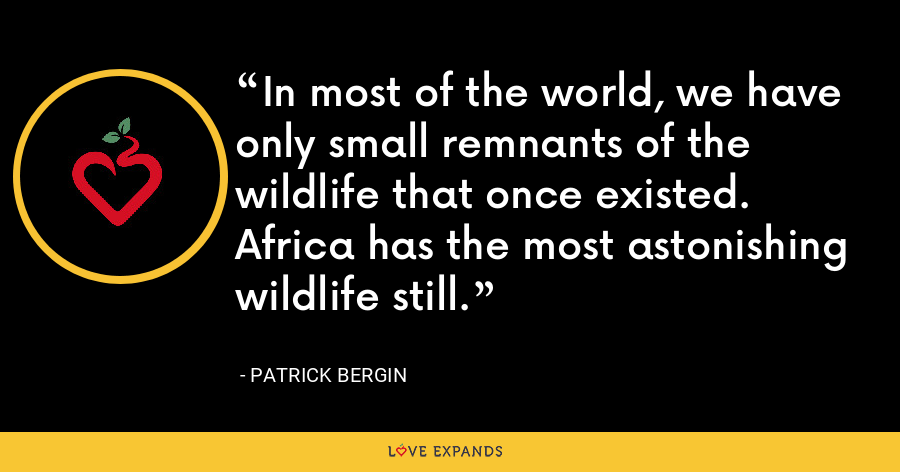In most of the world, we have only small remnants of the wildlife that once existed. Africa has the most astonishing wildlife still. - Patrick Bergin