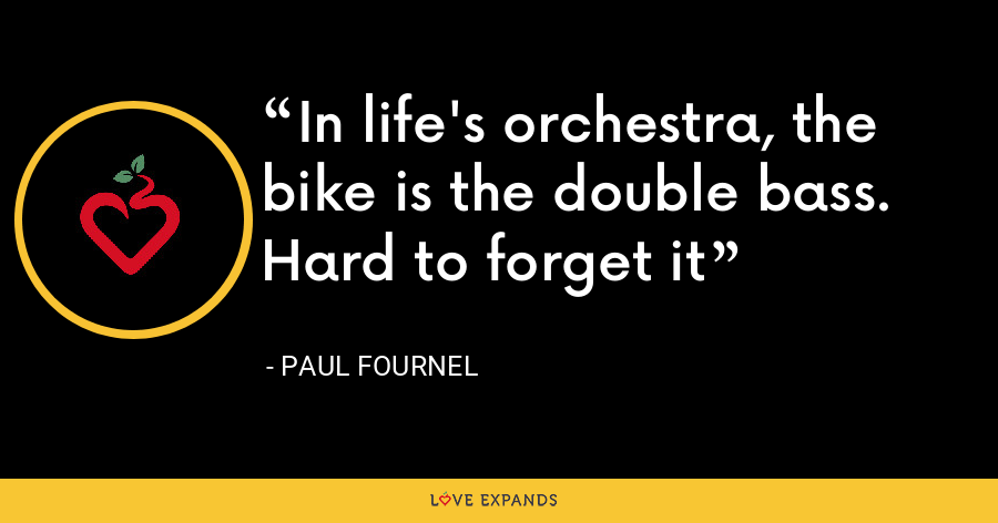 In life's orchestra, the bike is the double bass. Hard to forget it - Paul Fournel