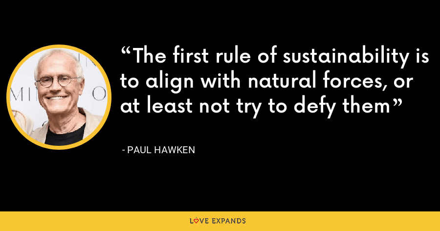The first rule of sustainability is to align with natural forces, or at least not try to defy them - Paul Hawken