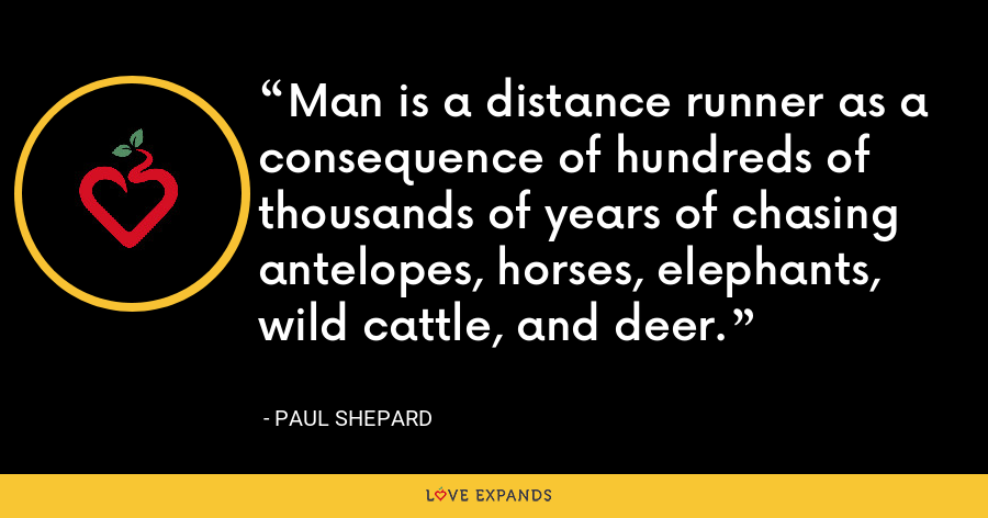 Man is a distance runner as a consequence of hundreds of thousands of years of chasing antelopes, horses, elephants, wild cattle, and deer. - Paul Shepard
