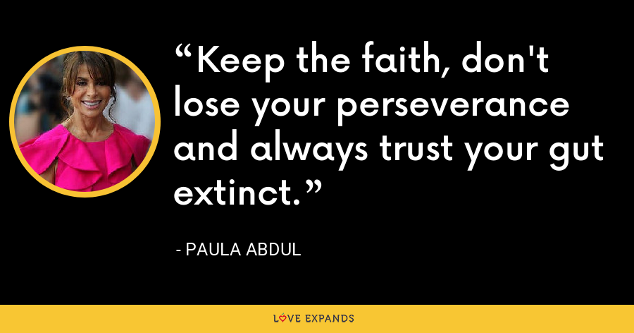 Keep the faith, don't lose your perseverance and always trust your gut extinct. - Paula Abdul