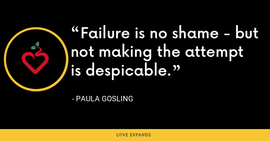 Failure is no shame - but not making the attempt is despicable. - Paula Gosling