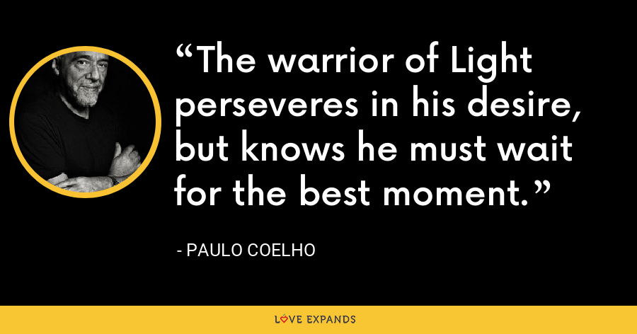 The warrior of Light perseveres in his desire, but knows he must wait for the best moment. - Paulo Coelho