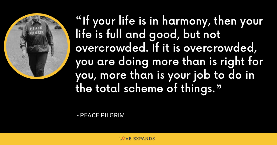 If your life is in harmony, then your life is full and good, but not overcrowded. If it is overcrowded, you are doing more than is right for you, more than is your job to do in the total scheme of things. - Peace Pilgrim