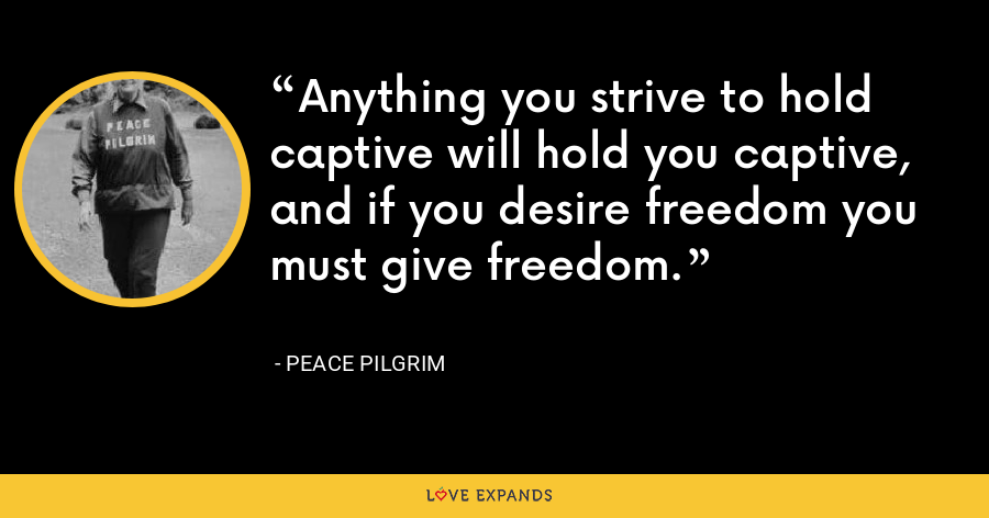 Anything you strive to hold captive will hold you captive, and if you desire freedom you must give freedom. - Peace Pilgrim