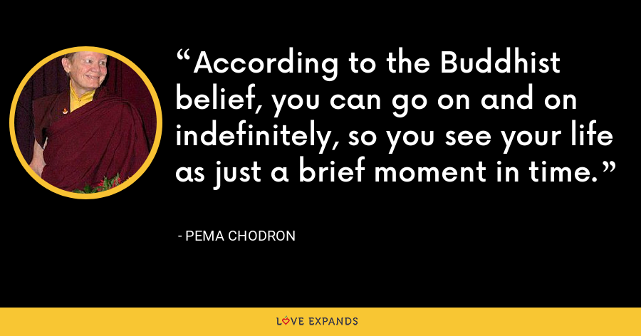 According to the Buddhist belief, you can go on and on indefinitely, so you see your life as just a brief moment in time. - Pema Chodron