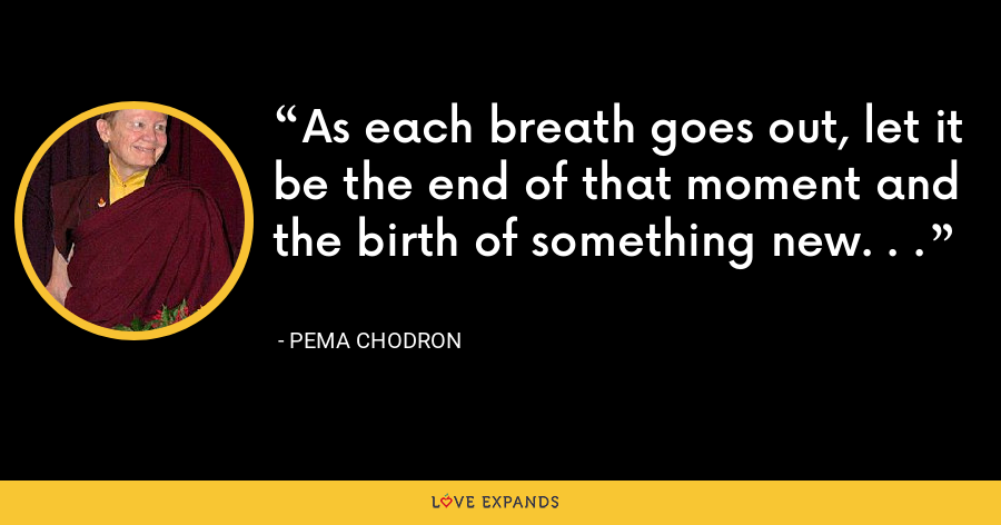 As each breath goes out, let it be the end of that moment and the birth of something new. . . - Pema Chodron