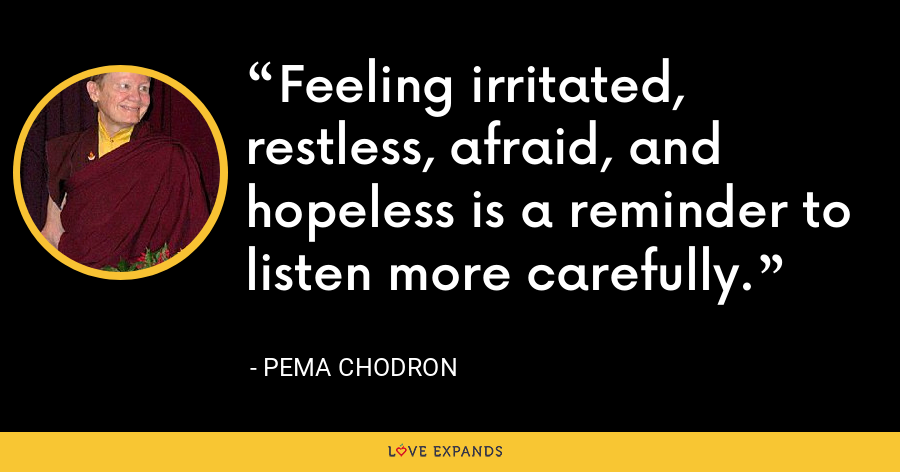 Feeling irritated, restless, afraid, and hopeless is a reminder to listen more carefully. - Pema Chodron