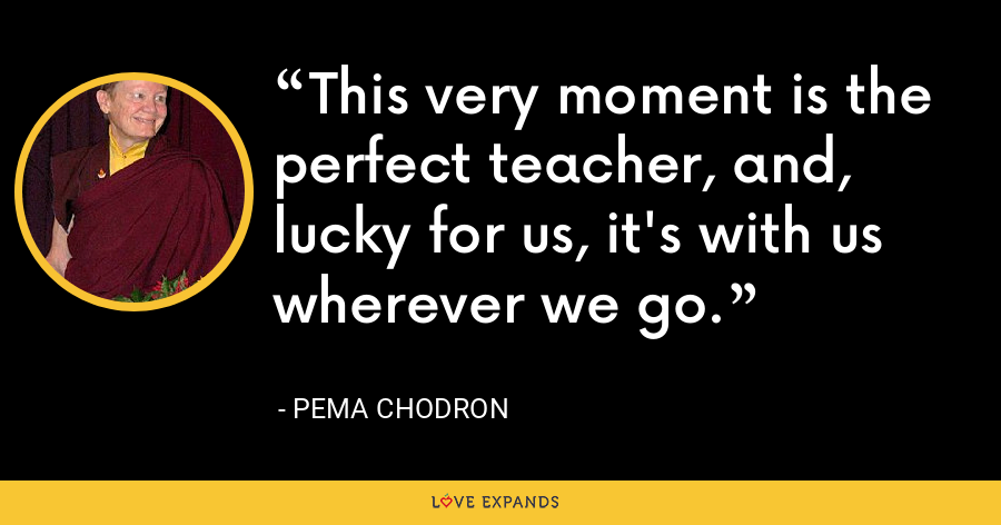 This very moment is the perfect teacher, and, lucky for us, it's with us wherever we go. - Pema Chodron