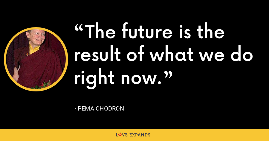 The future is the result of what we do right now. - Pema Chodron