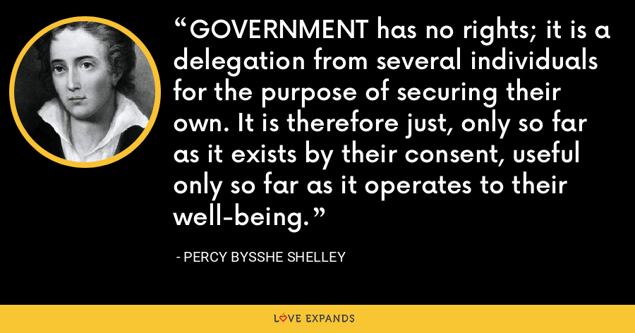 GOVERNMENT has no rights; it is a delegation from several individuals for the purpose of securing their own. It is therefore just, only so far as it exists by their consent, useful only so far as it operates to their well-being. - Percy Bysshe Shelley