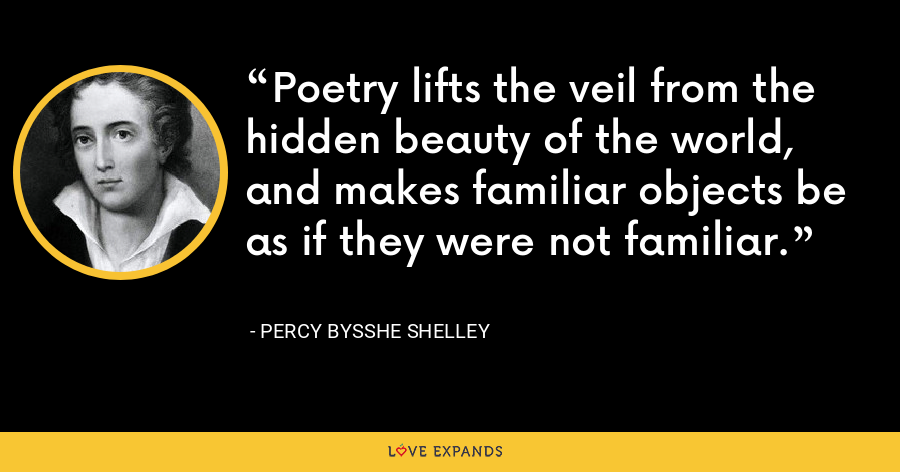 Poetry lifts the veil from the hidden beauty of the world, and makes familiar objects be as if they were not familiar. - Percy Bysshe Shelley