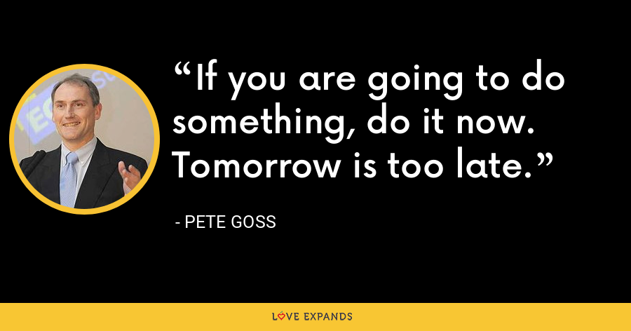If you are going to do something, do it now. Tomorrow is too late. - Pete Goss
