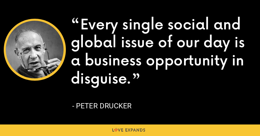 Every single social and global issue of our day is a business opportunity in disguise. - Peter Drucker
