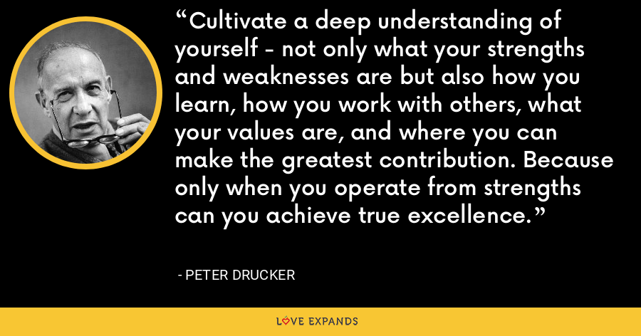 Cultivate a deep understanding of yourself - not only what your strengths and weaknesses are but also how you learn, how you work with others, what your values are, and where you can make the greatest contribution. Because only when you operate from strengths can you achieve true excellence. - Peter Drucker