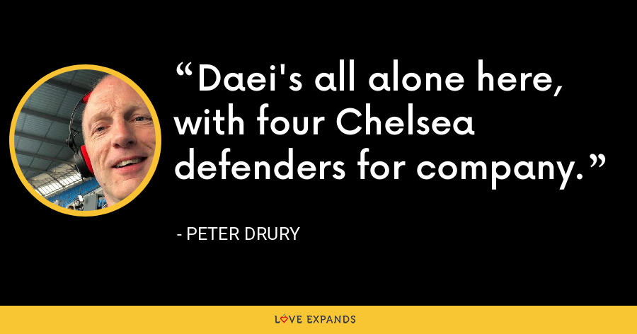 Daei's all alone here, with four Chelsea defenders for company. - Peter Drury