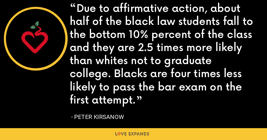 Due to affirmative action, about half of the black law students fall to the bottom 10% percent of the class and they are 2.5 times more likely than whites not to graduate college. Blacks are four times less likely to pass the bar exam on the first attempt. - Peter Kirsanow