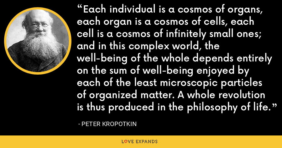 Each individual is a cosmos of organs, each organ is a cosmos of cells, each cell is a cosmos of infinitely small ones; and in this complex world, the well-being of the whole depends entirely on the sum of well-being enjoyed by each of the least microscopic particles of organized matter. A whole revolution is thus produced in the philosophy of life. - Peter Kropotkin