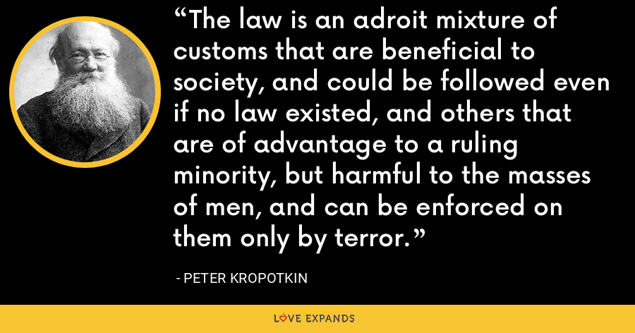 The law is an adroit mixture of customs that are beneficial to society, and could be followed even if no law existed, and others that are of advantage to a ruling minority, but harmful to the masses of men, and can be enforced on them only by terror. - Peter Kropotkin