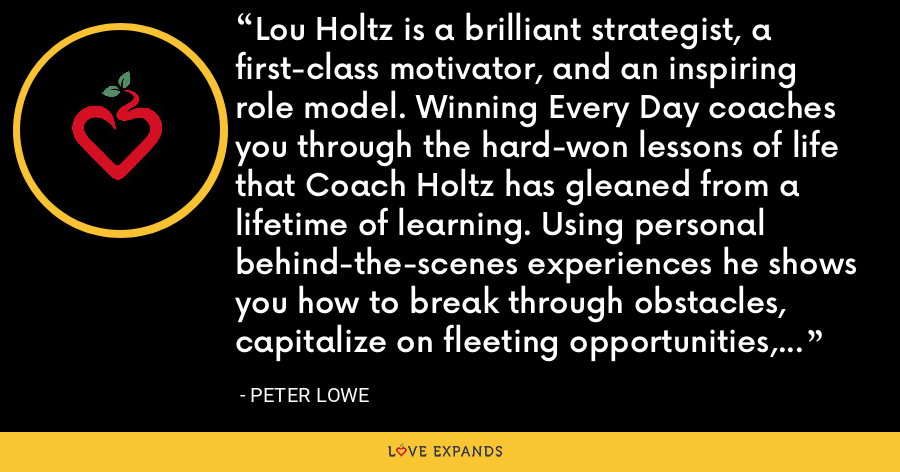 Lou Holtz is a brilliant strategist, a first-class motivator, and an inspiring role model. Winning Every Day coaches you through the hard-won lessons of life that Coach Holtz has gleaned from a lifetime of learning. Using personal behind-the-scenes experiences he shows you how to break through obstacles, capitalize on fleeting opportunities, and achieve success. There is no better mentor than Lou Holtz. - Peter Lowe