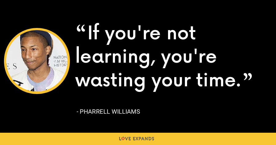 If you're not learning, you're wasting your time. - Pharrell Williams