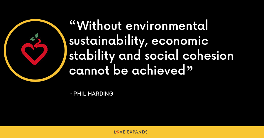 Without environmental sustainability, economic stability and social cohesion cannot be achieved - Phil Harding