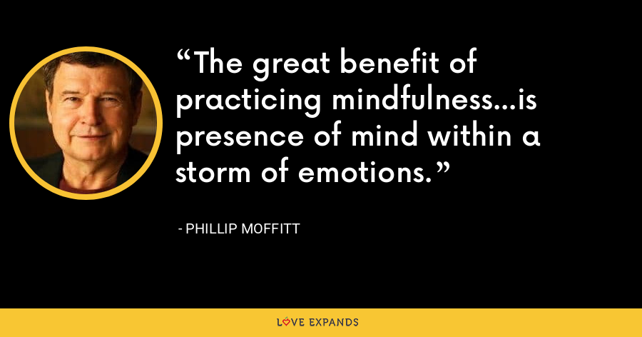 The great benefit of practicing mindfulness...is presence of mind within a storm of emotions. - Phillip Moffitt