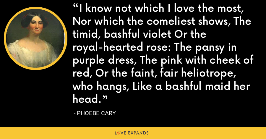 I know not which I love the most, Nor which the comeliest shows, The timid, bashful violet Or the royal-hearted rose: The pansy in purple dress, The pink with cheek of red, Or the faint, fair heliotrope, who hangs, Like a bashful maid her head. - Phoebe Cary