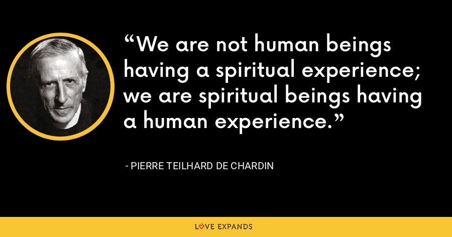 We are not human beings having a spiritual experience; we are spiritual beings having a human experience. - Pierre Teilhard De Chardin