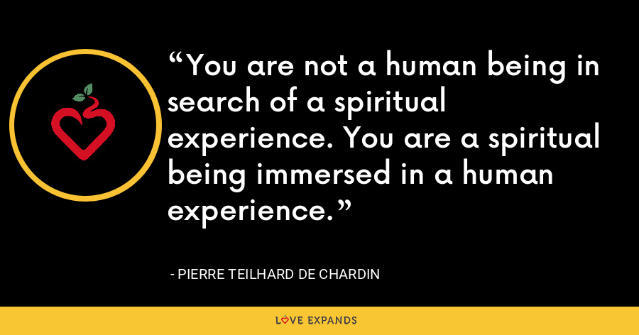 You are not a human being in search of a spiritual experience. You are a spiritual being immersed in a human experience. - Pierre Teilhard De Chardin