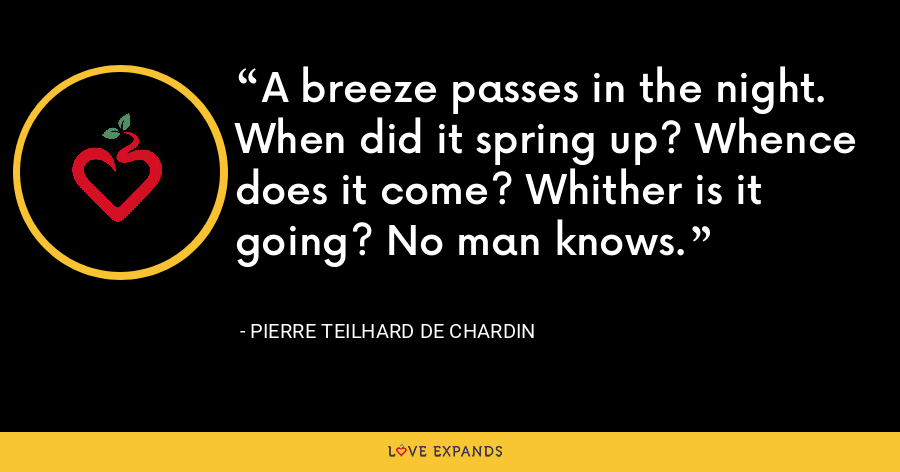 A breeze passes in the night. When did it spring up? Whence does it come? Whither is it going? No man knows. - Pierre Teilhard De Chardin