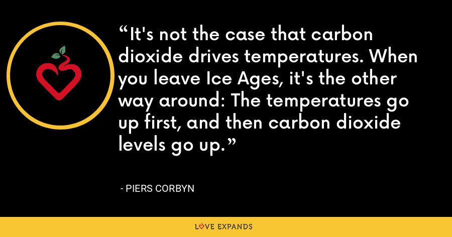 It's not the case that carbon dioxide drives temperatures. When you leave Ice Ages, it's the other way around: The temperatures go up first, and then carbon dioxide levels go up. - Piers Corbyn