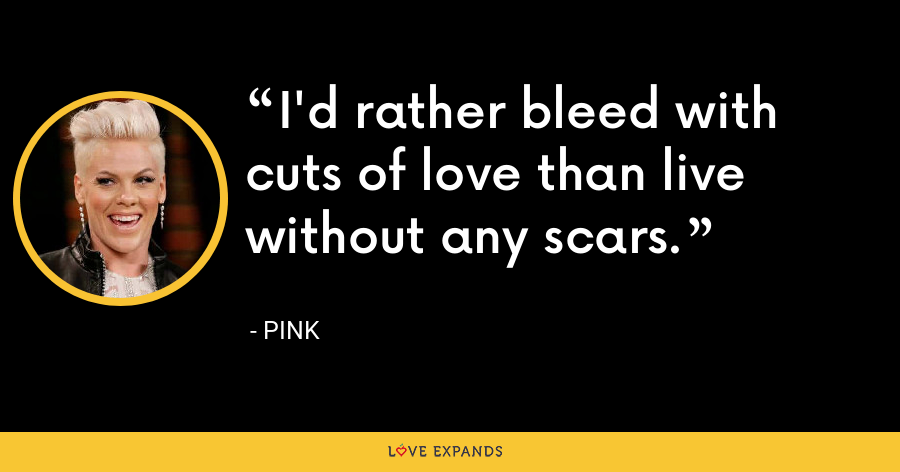 I'd rather bleed with cuts of love than live without any scars. - Pink