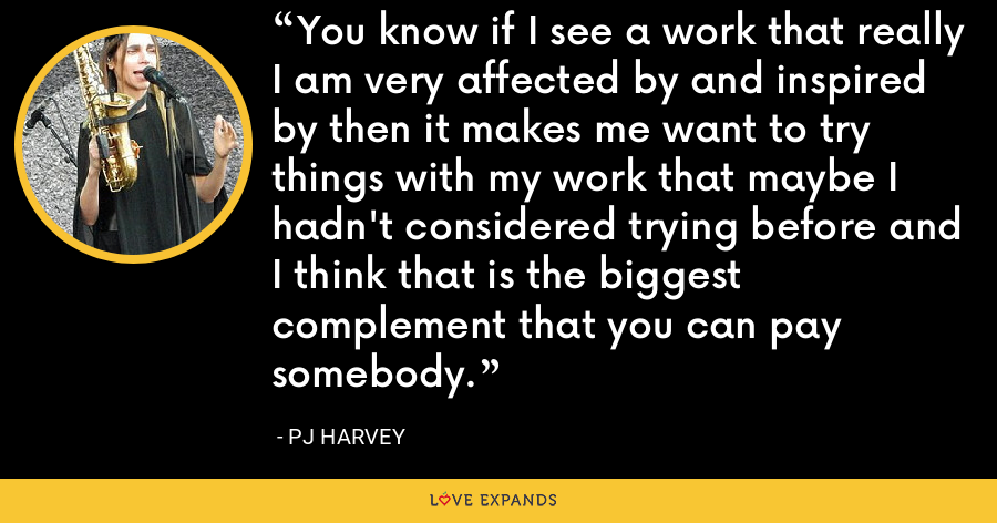 You know if I see a work that really I am very affected by and inspired by then it makes me want to try things with my work that maybe I hadn't considered trying before and I think that is the biggest complement that you can pay somebody. - PJ Harvey