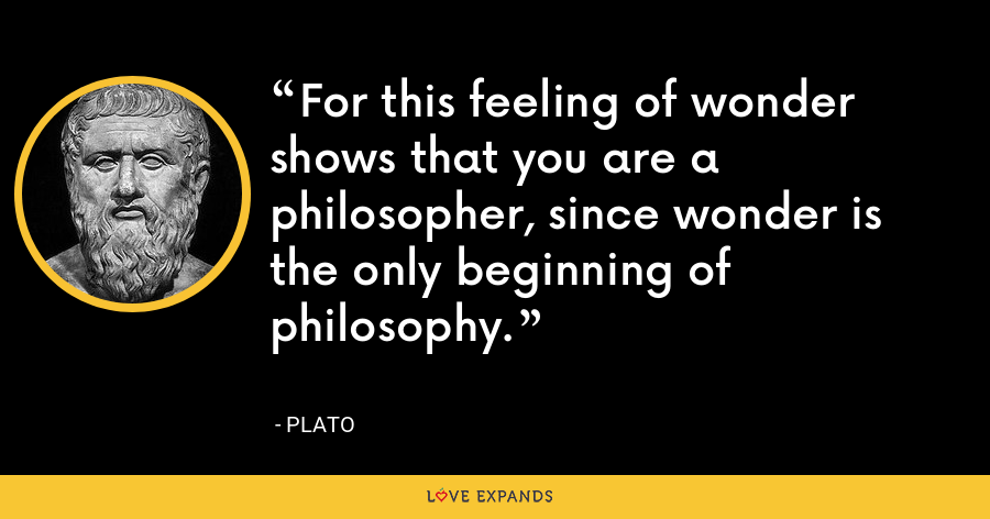 For this feeling of wonder shows that you are a philosopher, since wonder is the only beginning of philosophy. - Plato
