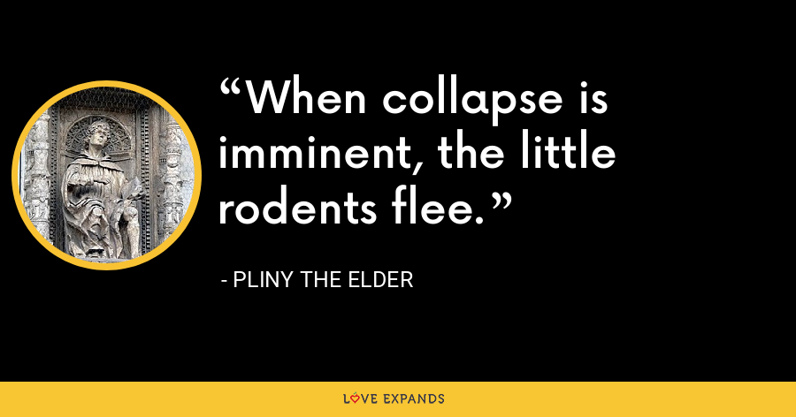 When collapse is imminent, the little rodents flee. - Pliny the Elder