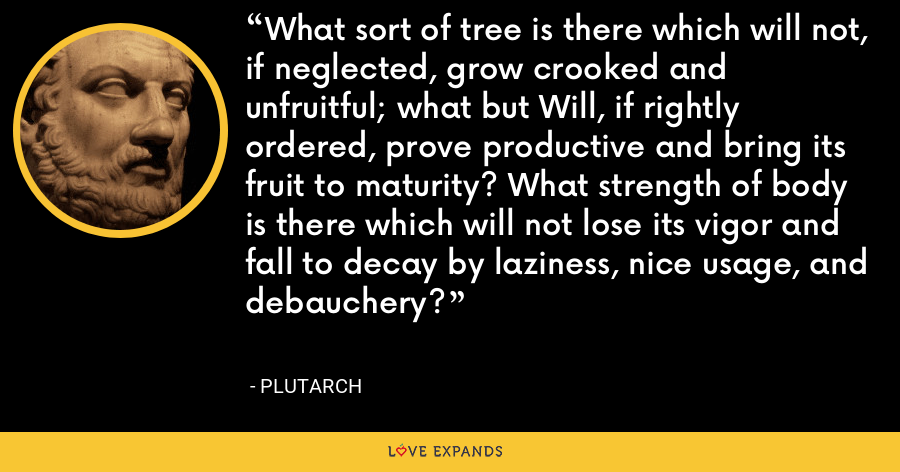 What sort of tree is there which will not, if neglected, grow crooked and unfruitful; what but Will, if rightly ordered, prove productive and bring its fruit to maturity? What strength of body is there which will not lose its vigor and fall to decay by laziness, nice usage, and debauchery? - Plutarch