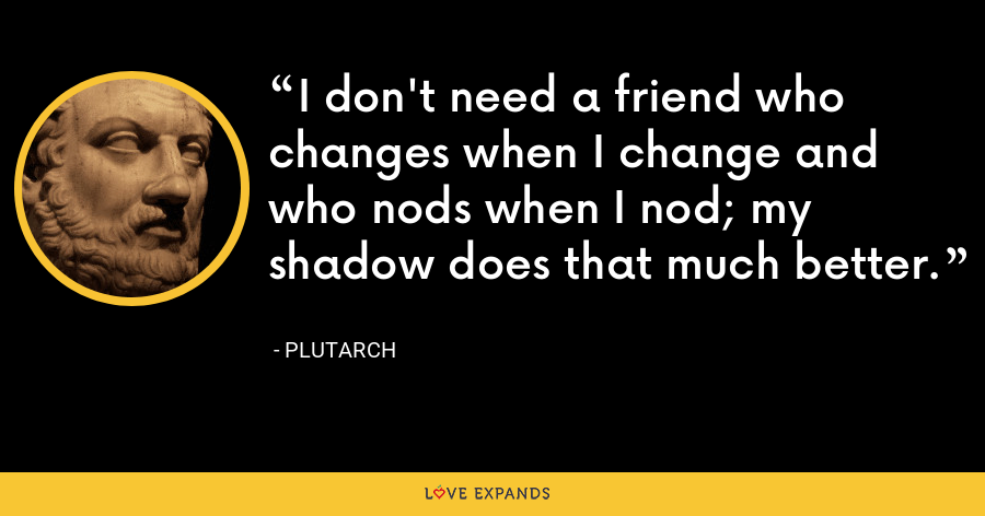 I don't need a friend who changes when I change and who nods when I nod; my shadow does that much better. - Plutarch