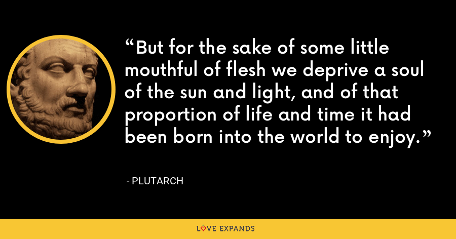 But for the sake of some little mouthful of flesh we deprive a soul of the sun and light, and of that proportion of life and time it had been born into the world to enjoy. - Plutarch