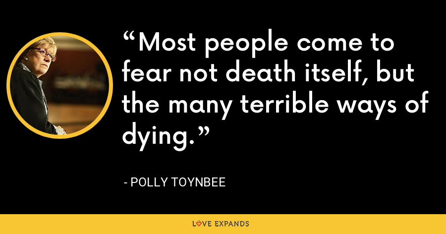 Most people come to fear not death itself, but the many terrible ways of dying. - Polly Toynbee