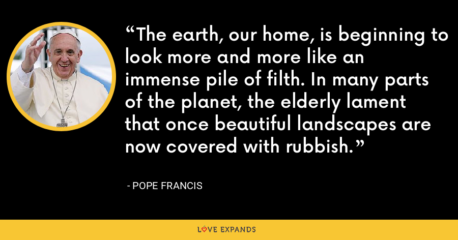 The earth, our home, is beginning to look more and more like an immense pile of filth. In many parts of the planet, the elderly lament that once beautiful landscapes are now covered with rubbish. - Pope Francis