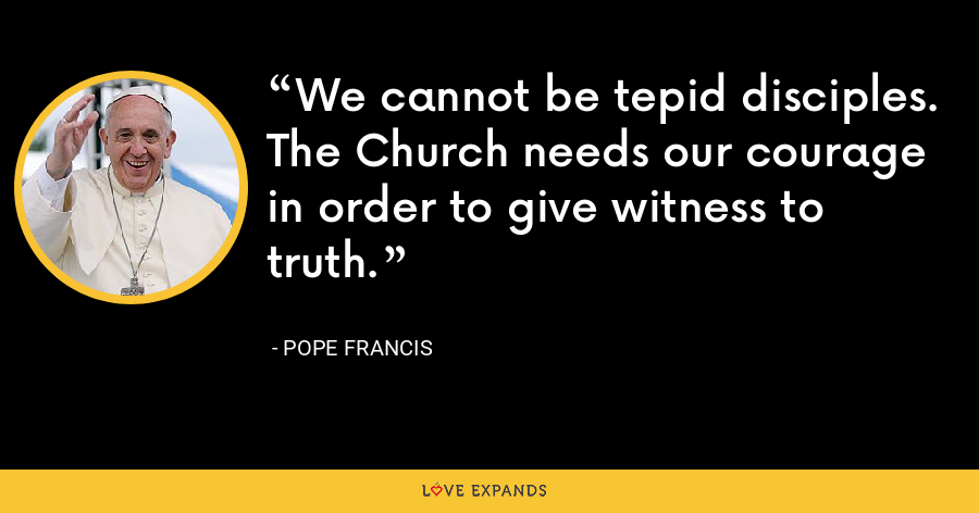 We cannot be tepid disciples. The Church needs our courage in order to give witness to truth. - Pope Francis