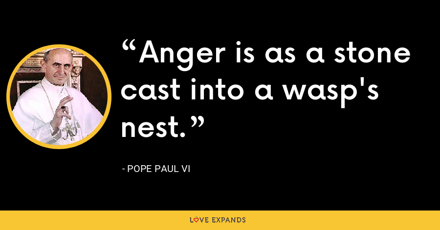 Anger is as a stone cast into a wasp's nest. - Pope Paul VI